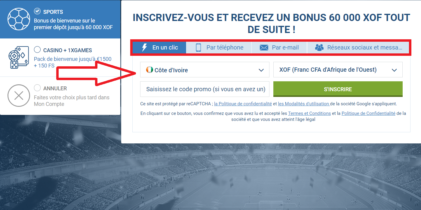 Inscription 1xBet en un clic